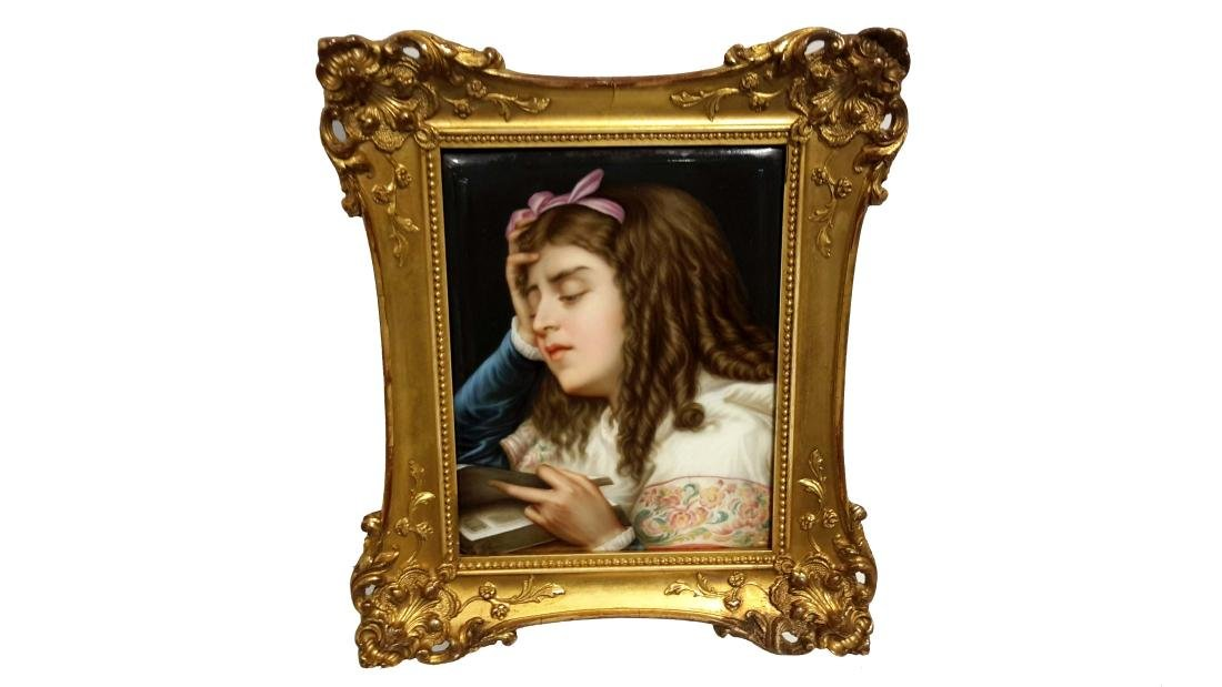 KPM Porcelain Plaque in Giltwood Frame, Germany, 19th