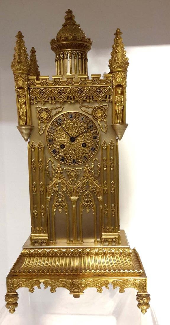 Charles X Gothic Cathedral Bronze Mantel Clock, circa