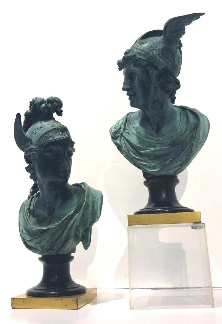 Pair of Neoclassical Bronze Busts of Mercury and Mars,