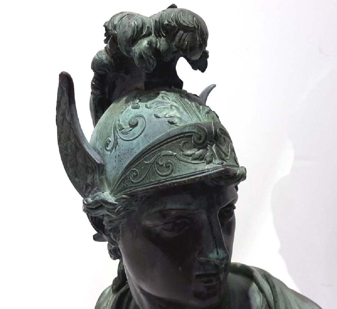 Pair of Neoclassical Bronze Busts of Mercury and Mars, - 2