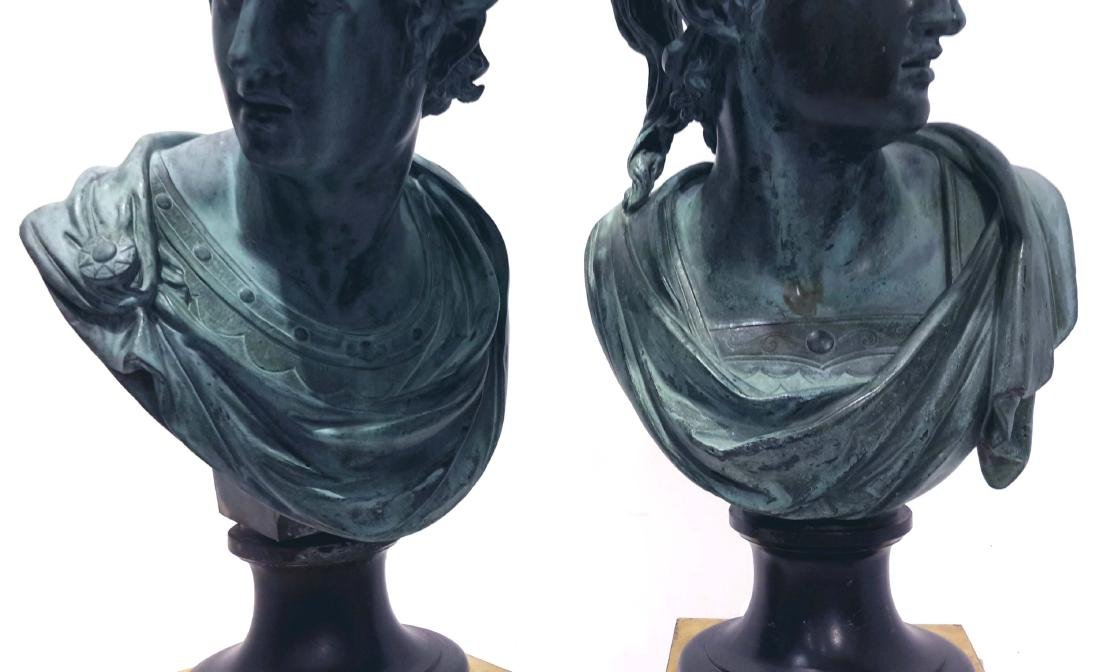 Pair of Neoclassical Bronze Busts of Mercury and Mars, - 7
