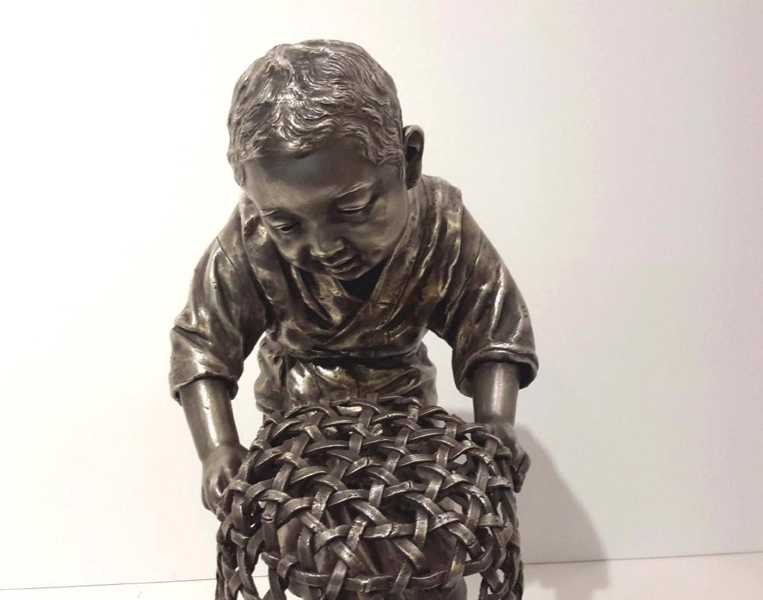 Tokyo School, Meiji Period Silvered Bronze Sculpture,