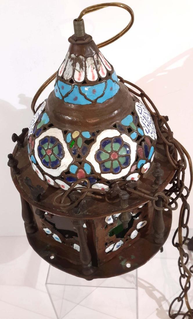 Islamic Enamel on Copper Mosque Lamp - 2