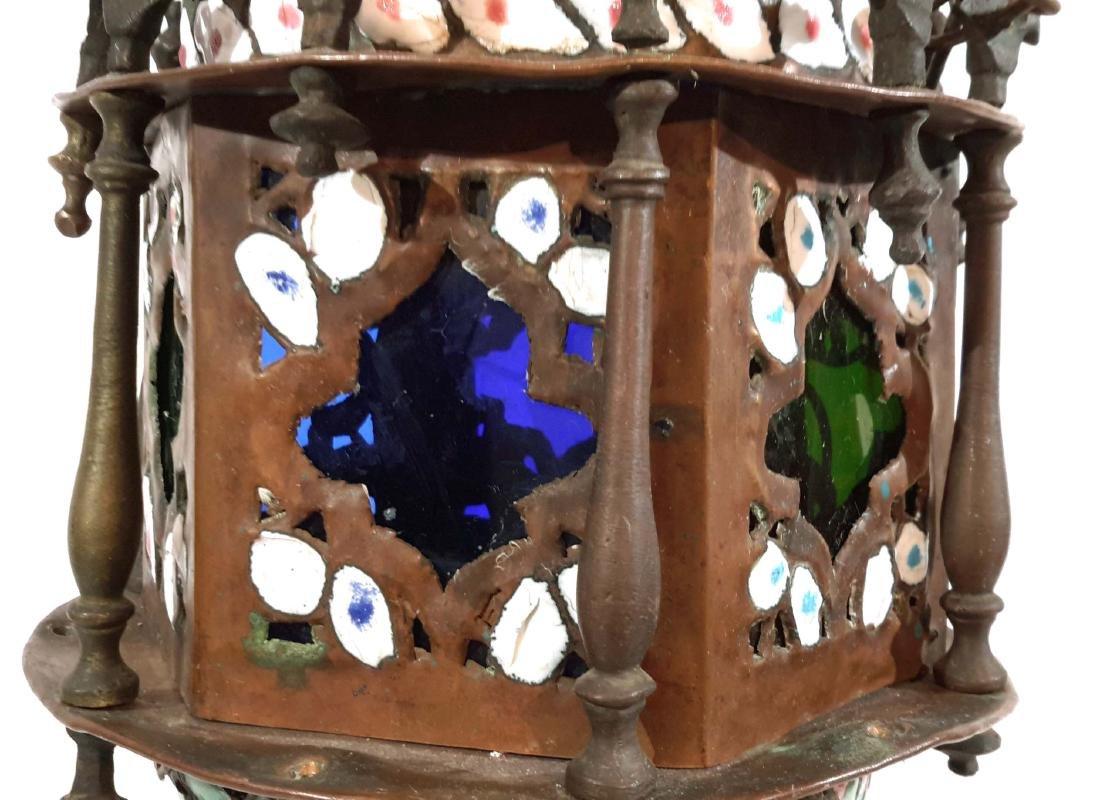 Islamic Enamel on Copper Mosque Lamp - 4