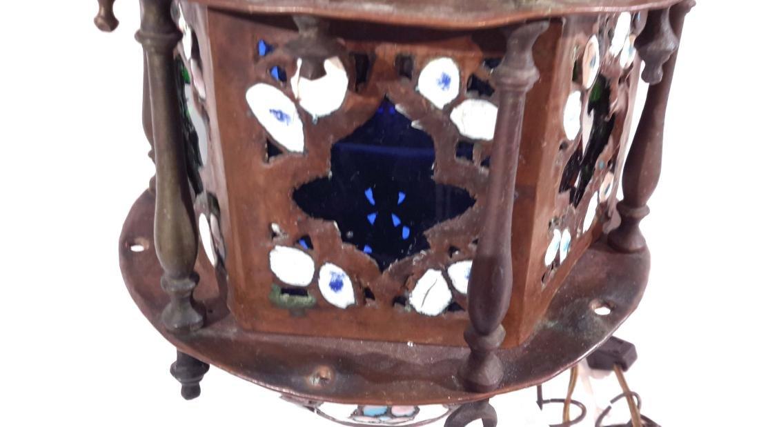Islamic Enamel on Copper Mosque Lamp - 7