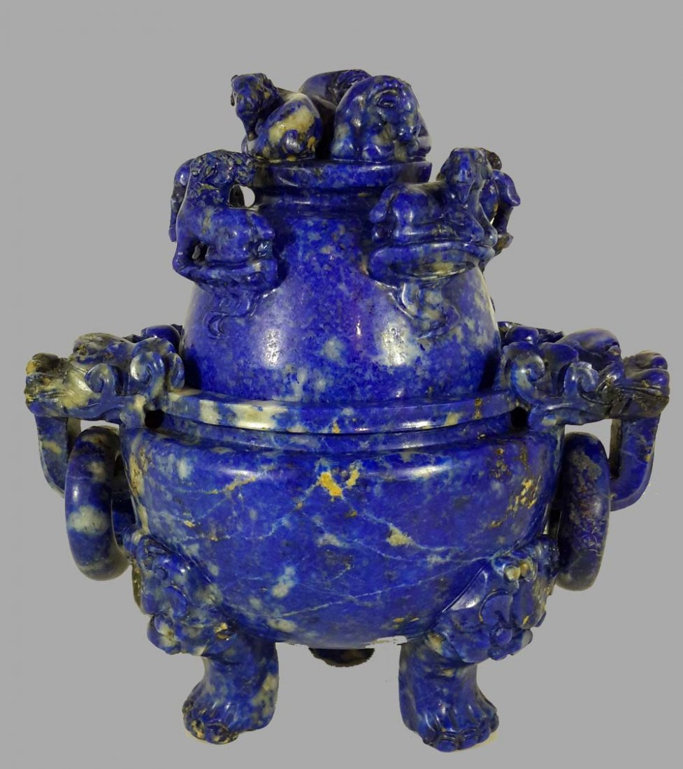 A CHINESE LAPIS LAZULI CARVED 'EIGHT RAMS' CENSER