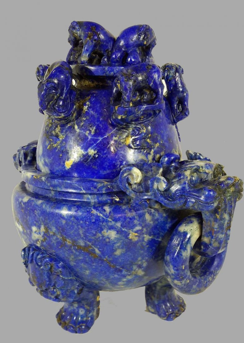 A CHINESE LAPIS LAZULI CARVED 'EIGHT RAMS' CENSER - 4