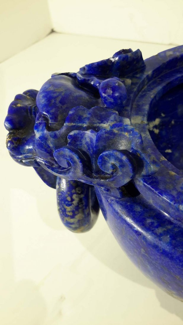 A CHINESE LAPIS LAZULI CARVED 'EIGHT RAMS' CENSER - 7