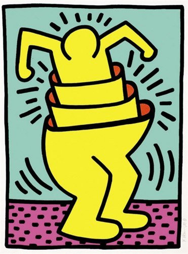 Cup Man by Keith Haring: Printed in 1989