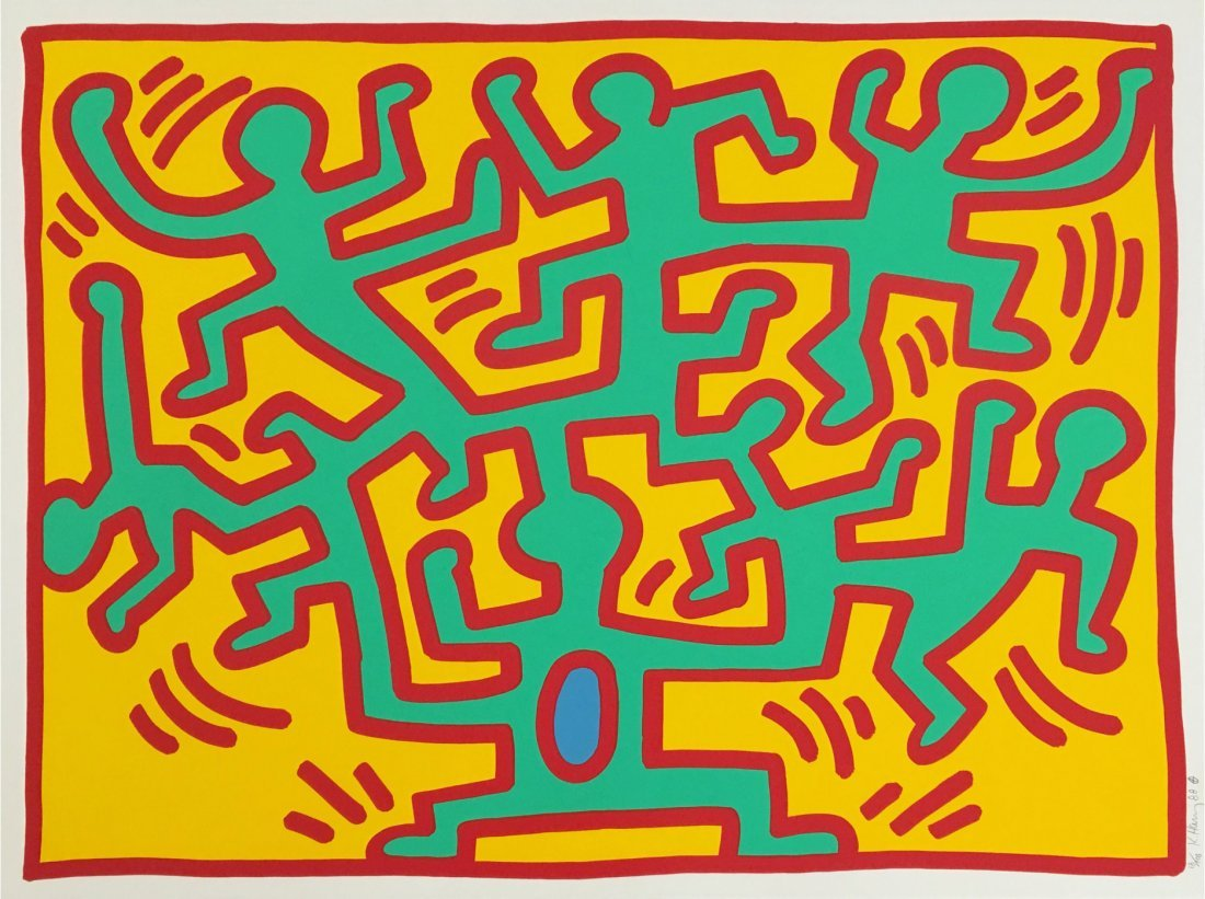 Growing Number 4 by Keith Haring: Printed 1988