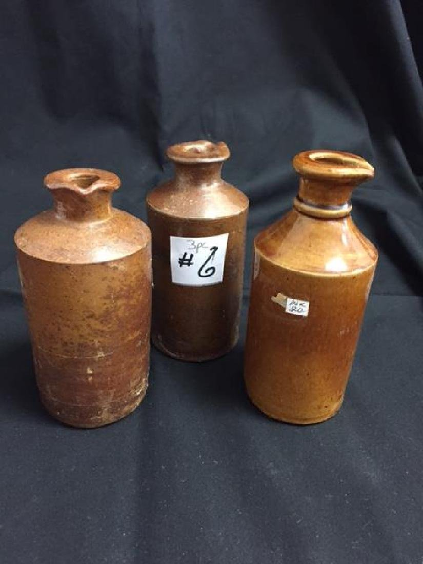 3pc., 19th Century Stoneware Ink Bottles 2 are marked,