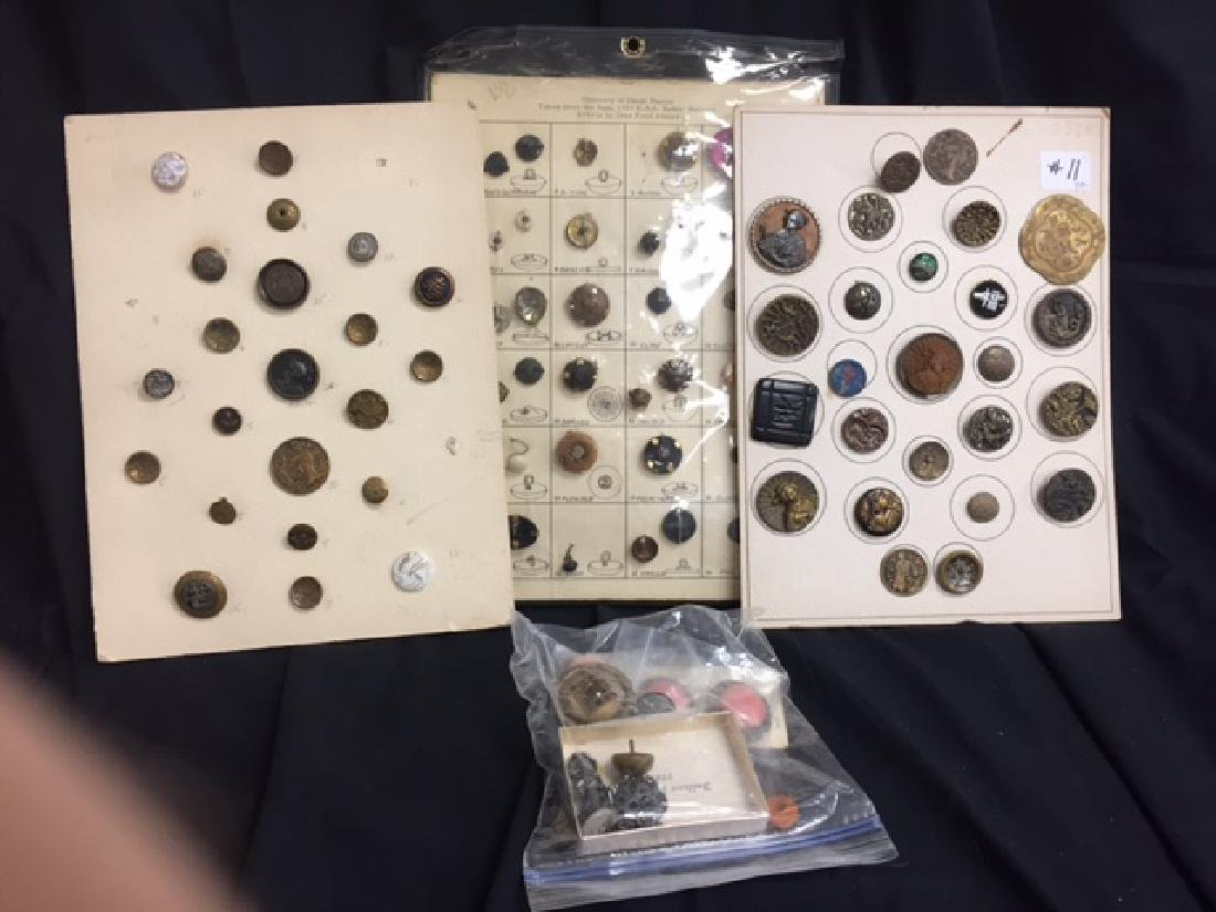 Button Lot - 3 cards & bag of misc  Antique Button