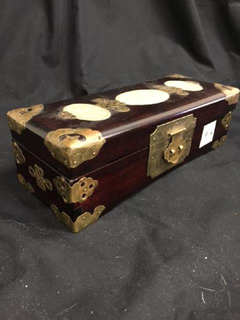 Oriental Teak or Rosewood Jewelry Box Lots of Brass.