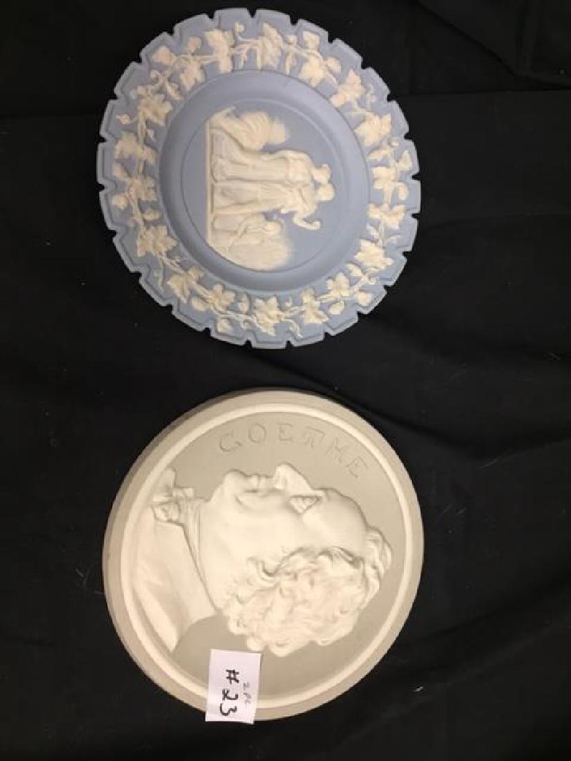 """2 Jasper Plates/Plaques both 7 1/4"""" 1 is portrait of"""