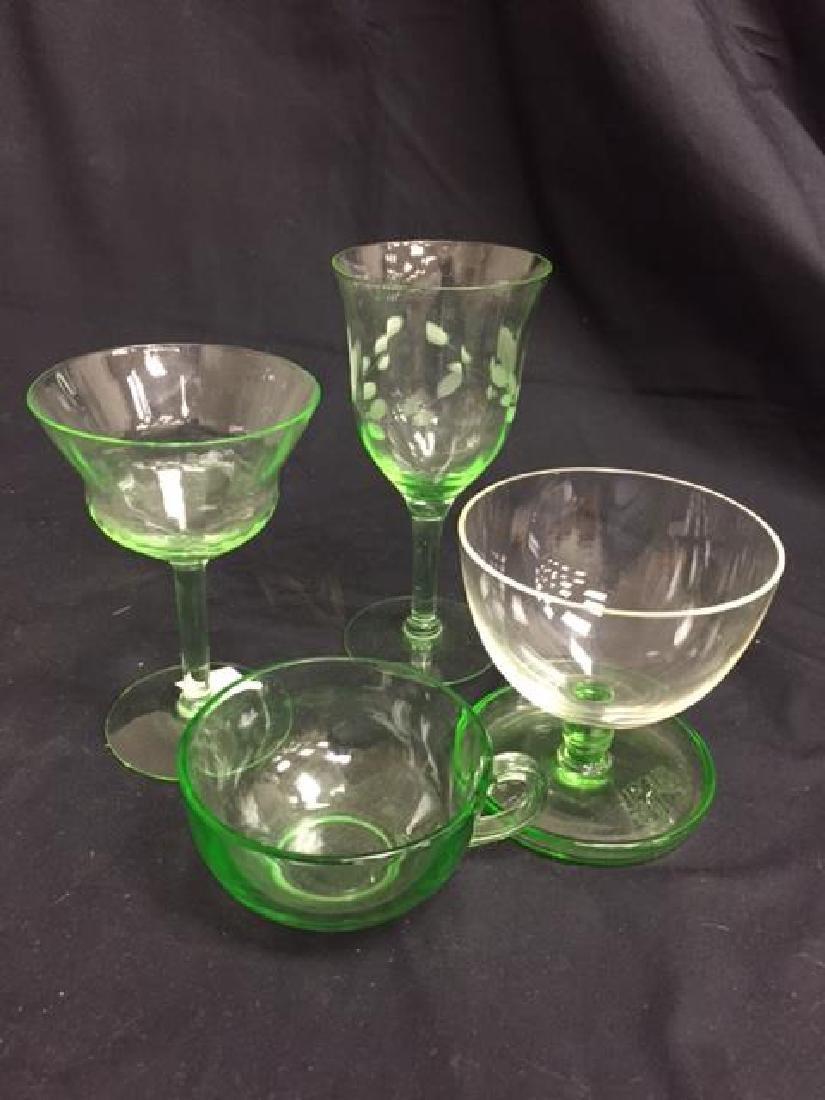 6 Assorted Pieces Vaseline Glass Vintage Vaseline Glass