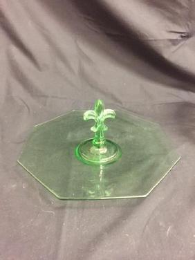"""Fostoria Tidbit Tray Vaseline Glass, 12 1/2"""" wide with"""