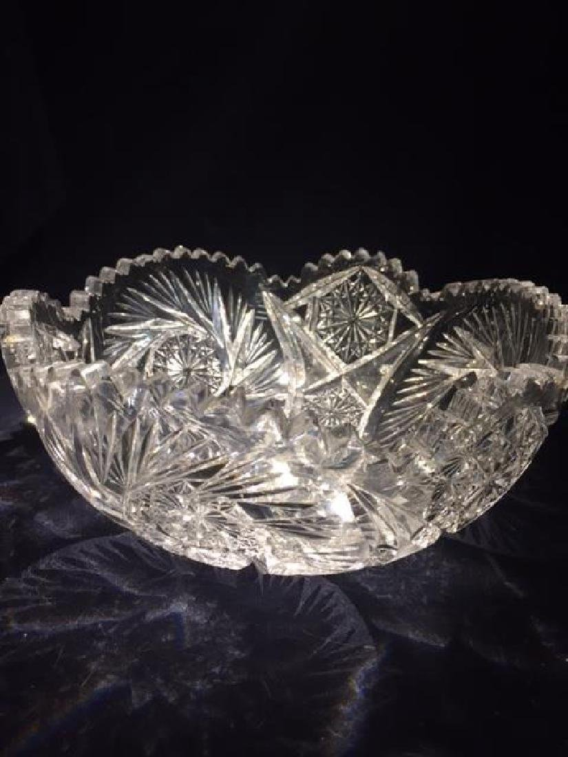 "Vintage 3 1/4"" x 8"" Cut Glass Bowl Several chips on the"