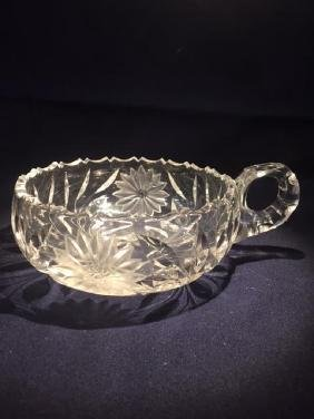 "Crystal Candy Dish with Handle 6"" x 2"" No Marks"
