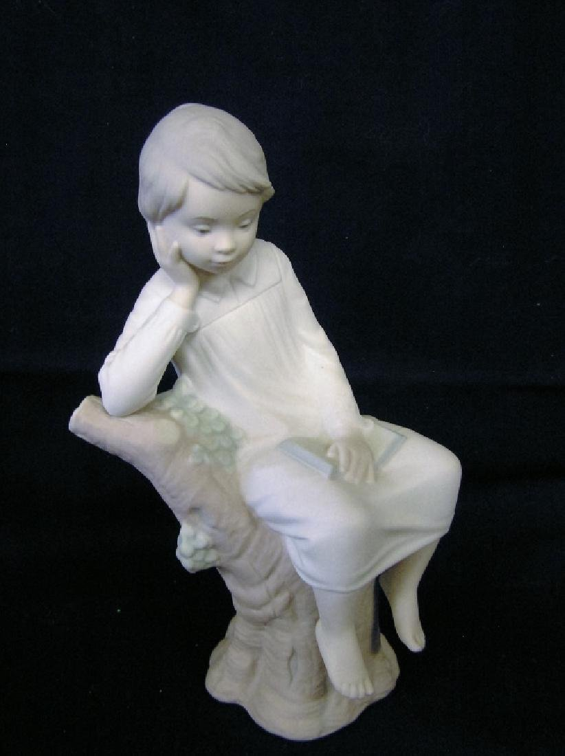 Girl Resting on Tree Stump Vintage LLADRO