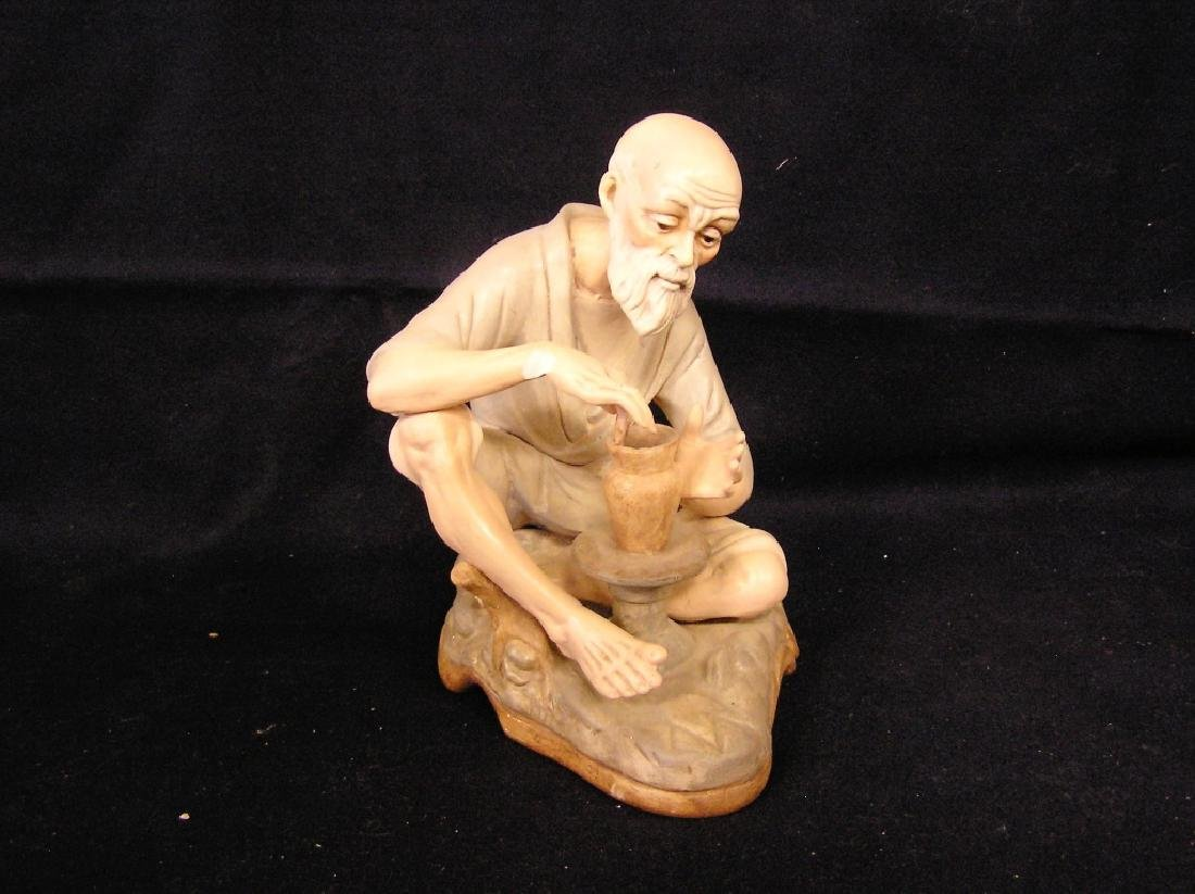 Man Making a Bowl Narco Pottery - Chip on right arm