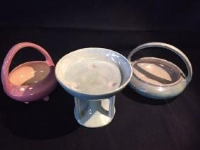 3pc Lot Luster Ware Pottery Not Marked but, Likely