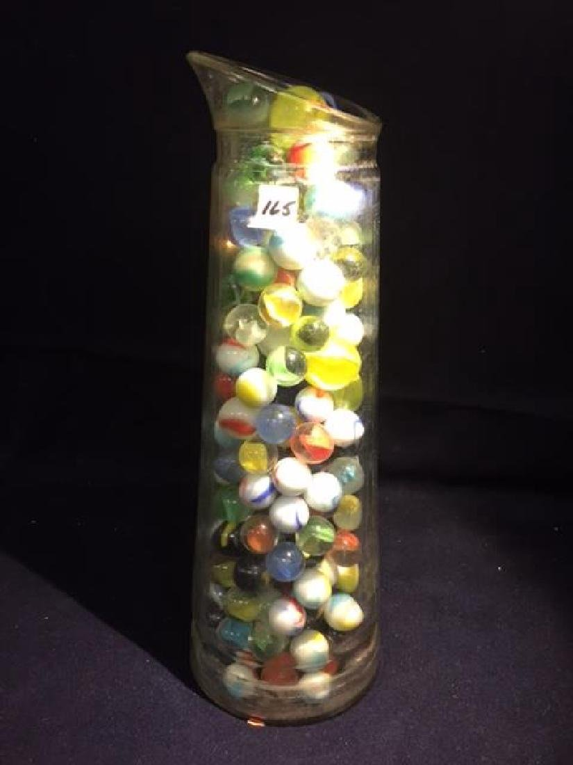 Vintage Milk Bottle Filled with marbles, couple of