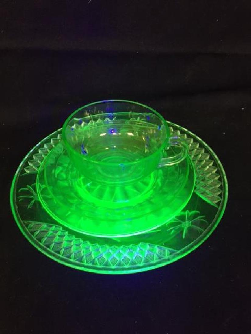 Lot of Vintage Vaseline Glass - 2