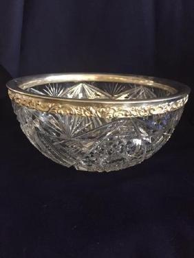"8 1/4"" Cut Glass Bowl w/ Sterling Edge total"