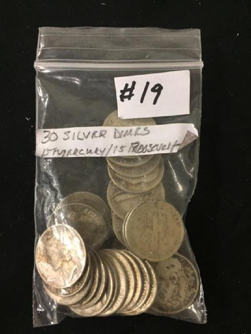 30 Silver U.S. Dimes 15 - Mercury & 15 - Roosevelt