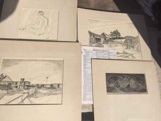 4pc. 3 Woodcuts & 1 Pencil Nude