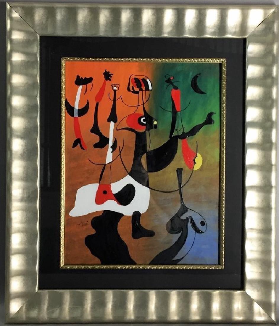 Joan Miro Oil on Paper  Attrib./CERTIF