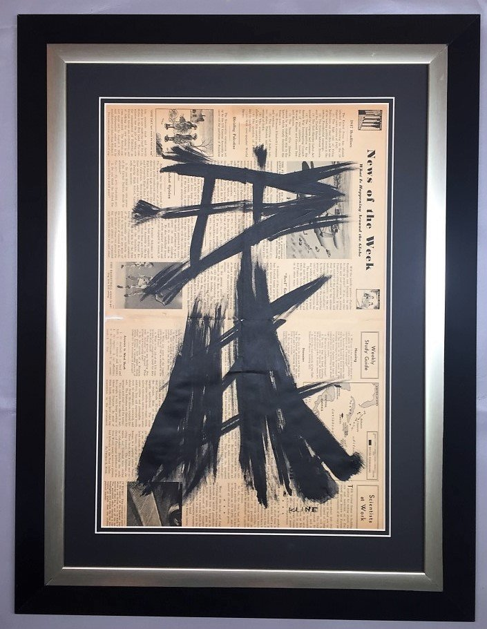 Franz  Kline painting over 1947 news paper