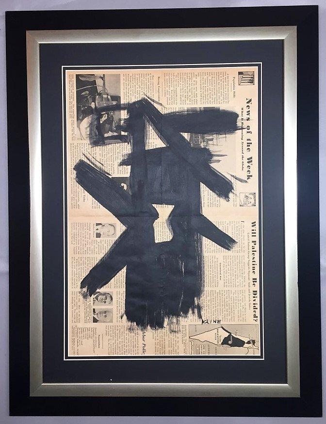 Franz  Kline painting over 1947 news paper