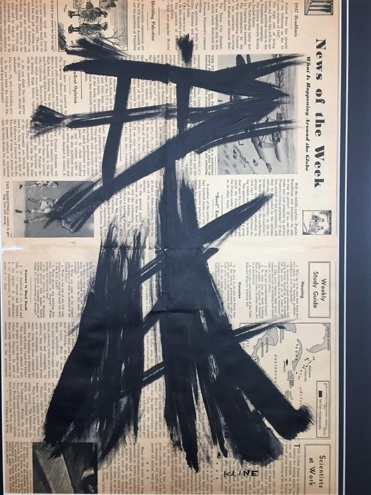 Franz  Kline painting over 1947 news paper - 2