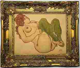 Egon Schiele Watercolor