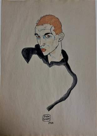 Egon Schiele Mixed Media / Watercolor