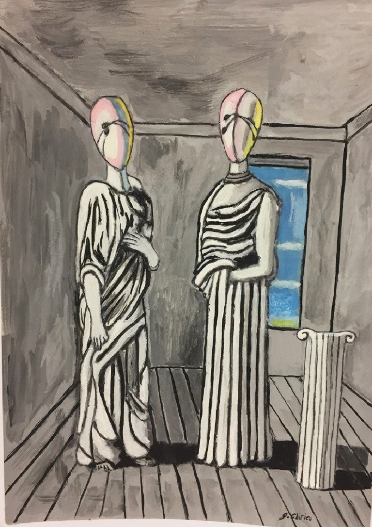 MIXED MEDIA ON PAPER  G CHIRICO