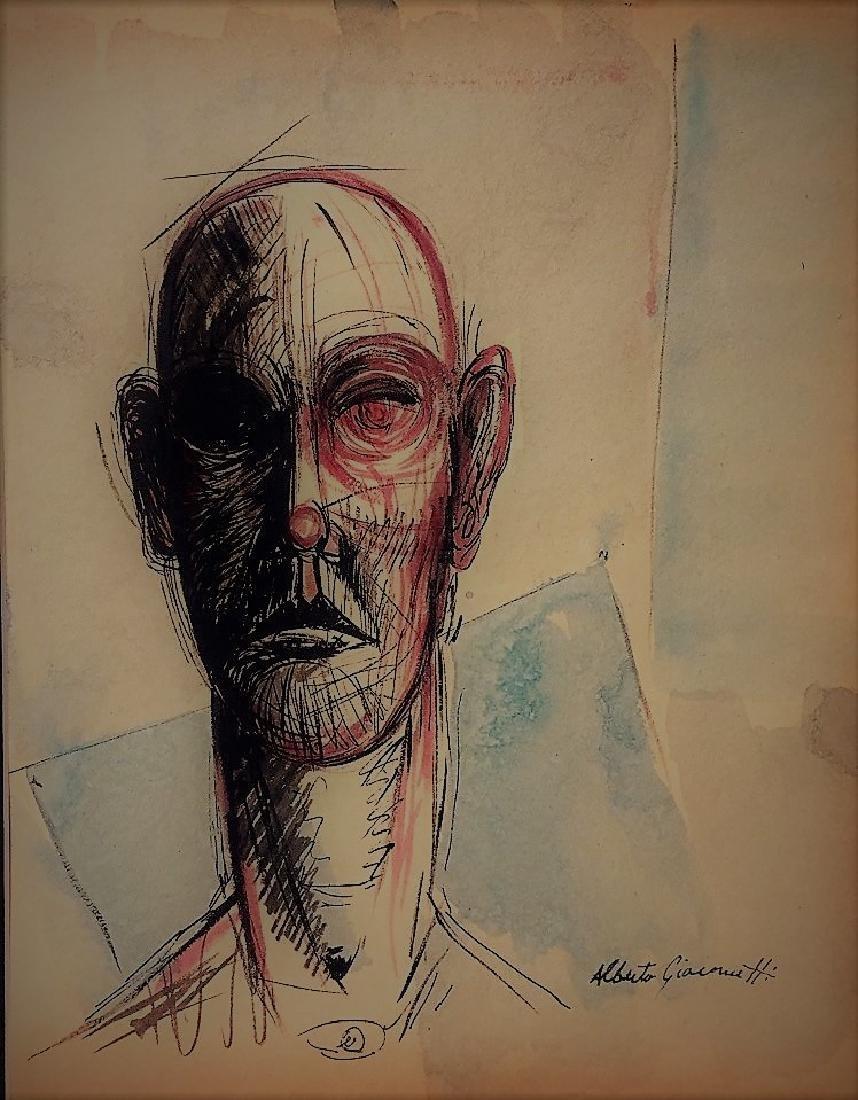 Alberto Giacometti  Mixed media on paper