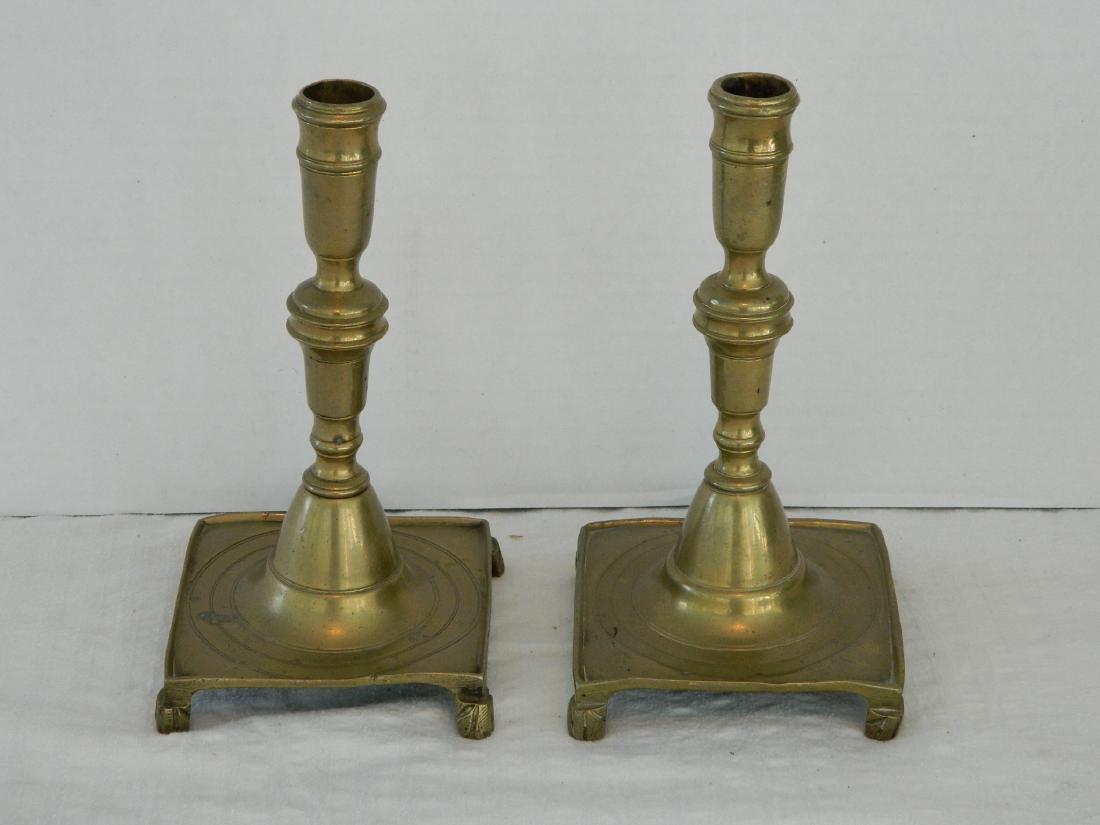Pair of Dutch Brass Candlesticks