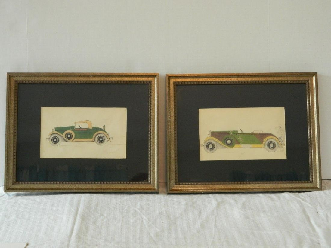 Pair of pencil & watercolor sketches of Classic Cars
