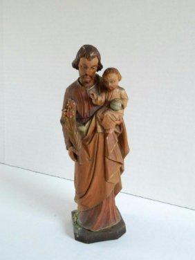 Wood Carving - Joseph & Baby Jesus