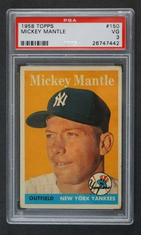 1958 Topps Mickey Mantle PSA 3