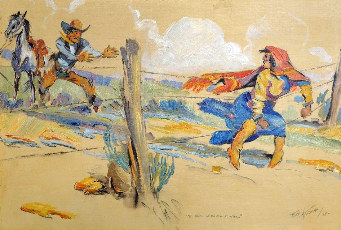 Fred Harman (1902-1982) Original Oil on Paper.