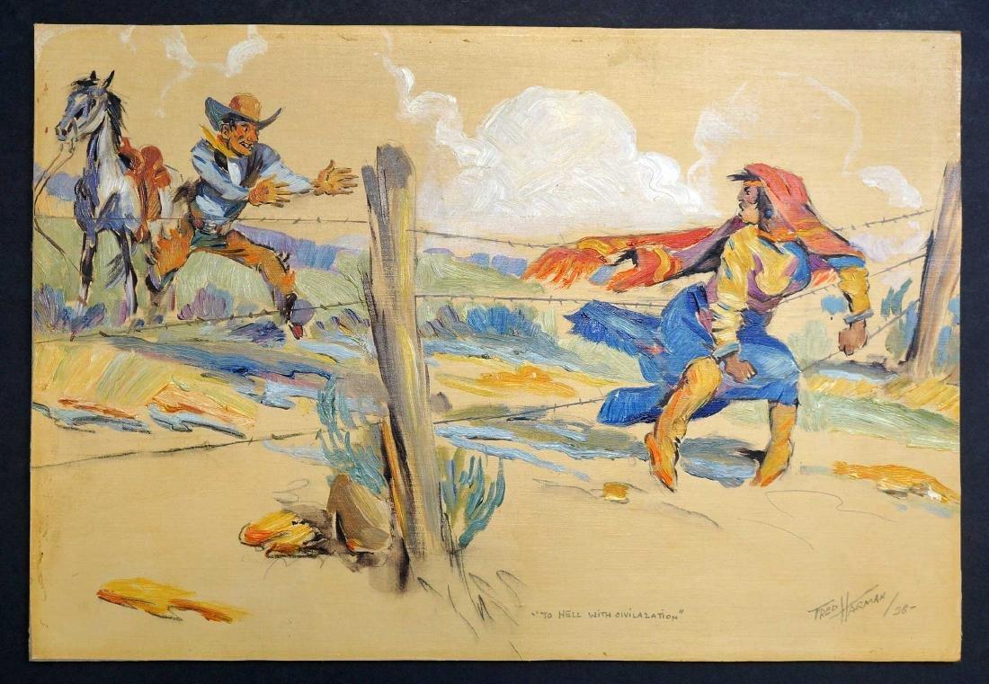 Fred Harman (1902-1982) Original Oil on Paper. - 2