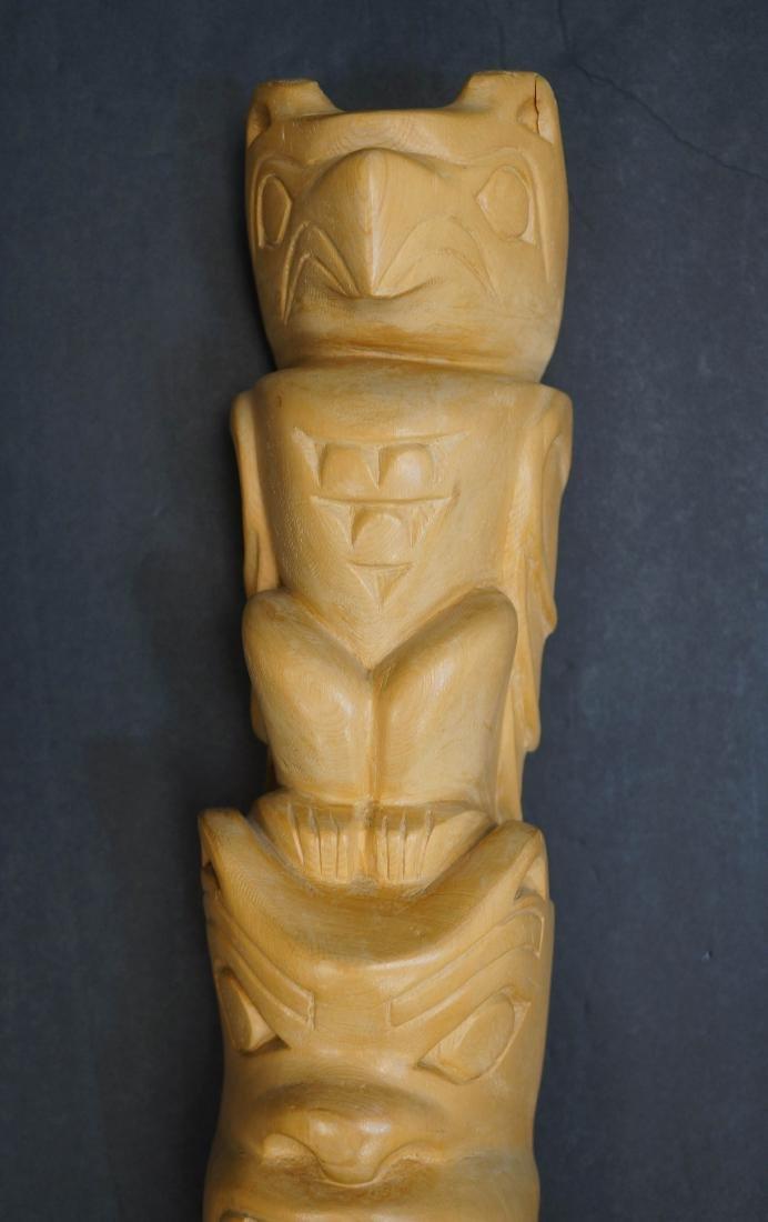 Large Carved Totem Signed Moon - 2