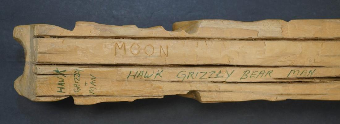 Large Carved Totem Signed Moon - 4