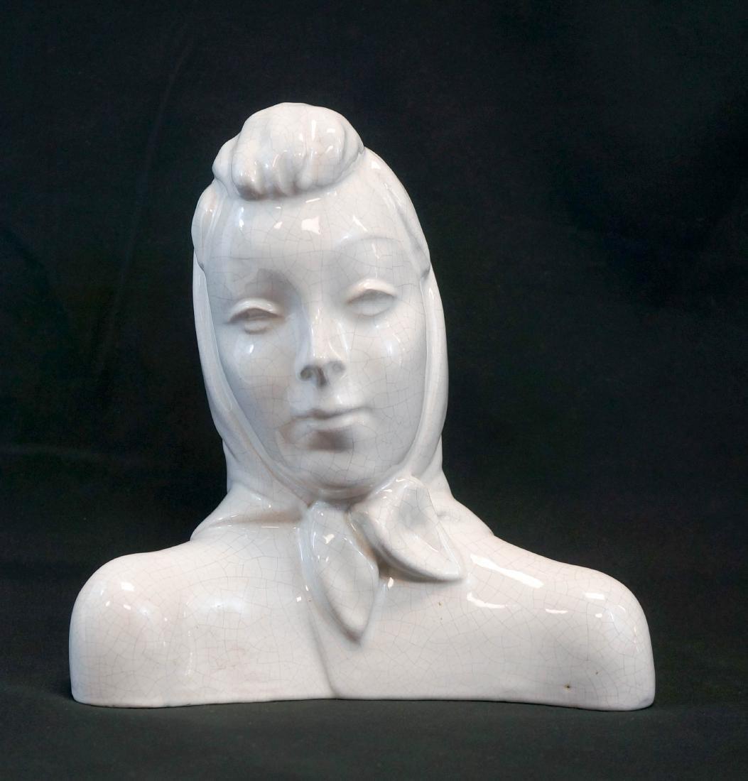 Mid-Century Studio Pottery Bust of Woman