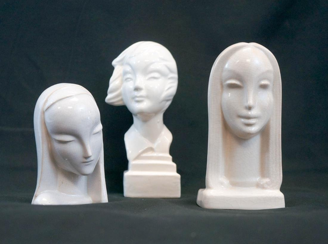 Three Art Deco Pottery Busts, Signed