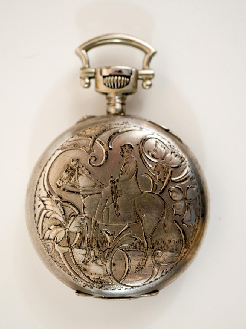 Swiss .800 Silver Pocket Watch Man on Horse
