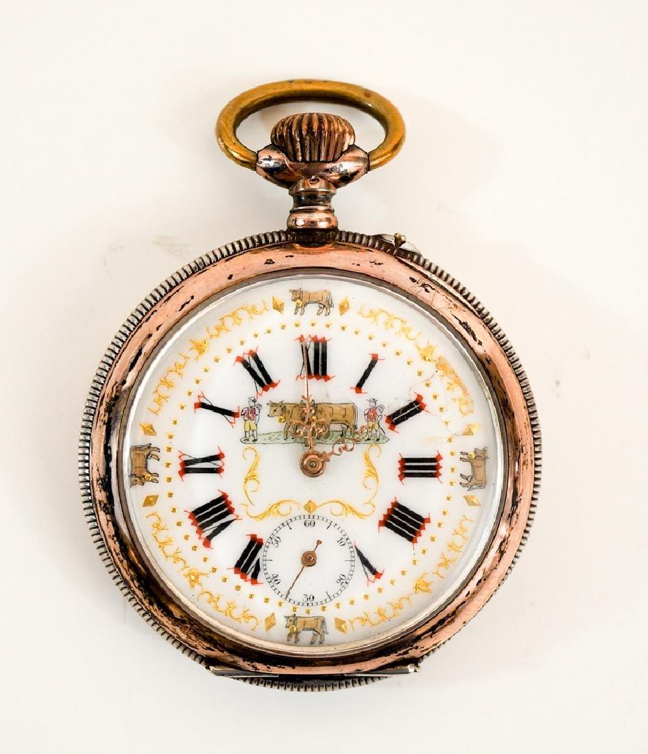 Swiss .800 Silver Pocket Watch Farmer's